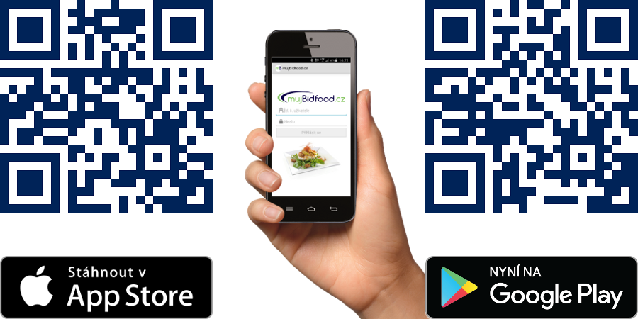 Mobile app mujBidfood.cz | QR codes Google Play and App Store